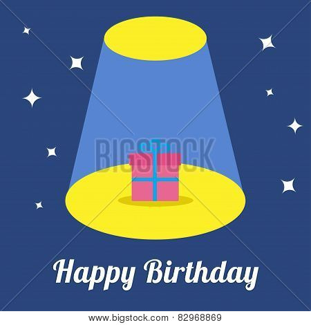 Projector Light In The Circus Show Gift Box With Ribbon And Bow With Sparkles. Happy Birthday Card.