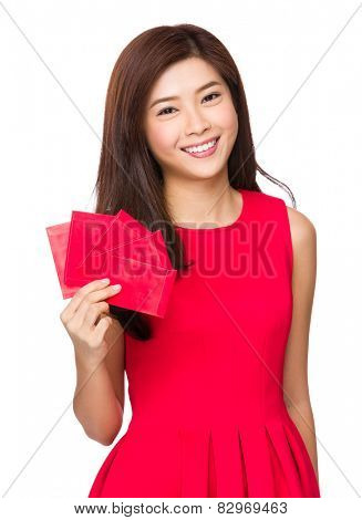 Asian Woman hold lucky money for lunar new year