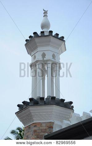 Minaret detail at Kuala Lumpur Jamek Mosque in Malaysia