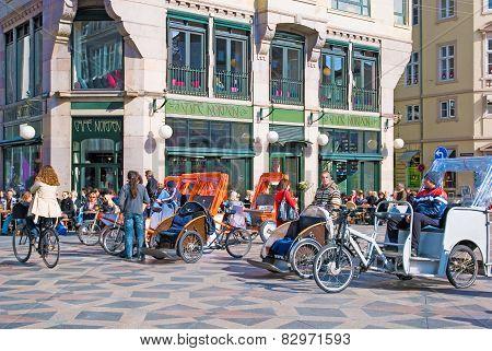 Denmark. Copenhagen. Pedicabs near Amagertorv
