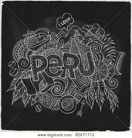 Peru hand lettering and doodles elements