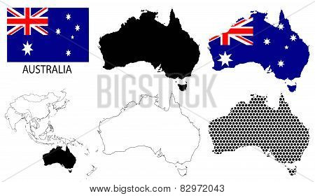 Australia - Four optional contour maps, National flag and Asia map vector