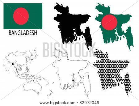 Bangladesh - Four optional contour maps, National flag and Asia map vector