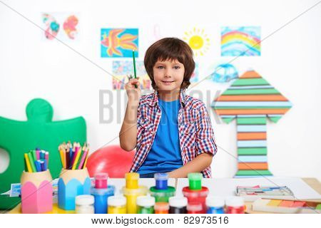 Happy little boy is in preschool center for children