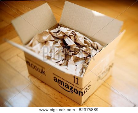 Amazon Parcel Opened On Home Parquet Floor