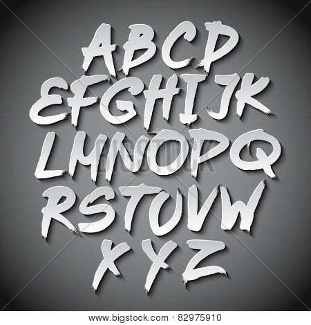 Vector Alphabet Set Art Grey Shadow Font