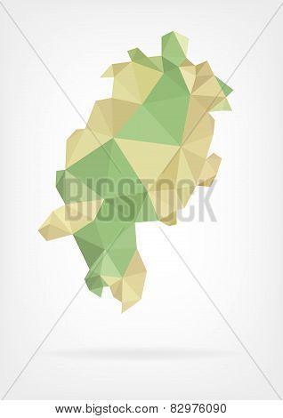 Low Poly map of german region Hessen