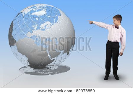 Boy Points A Finger At A Translucent Globe