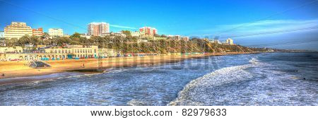 Bournemouth beach and coast Dorset England UK like a painting in vivid bright colour HDR panoramic