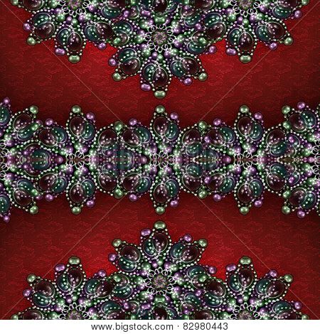 Decorative Jewels Collage Background