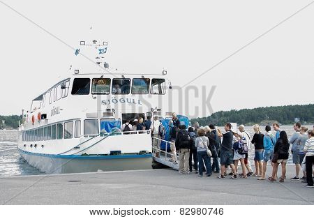 Line At Vaxholm Ferry