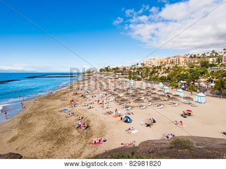Picturesque El Duque Beach In Costa Adeje. Tenerife. Canary Islands, Spain