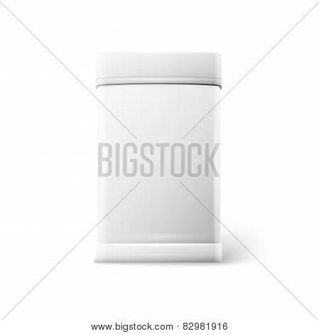 White square tin packaging Tea coffee dry products