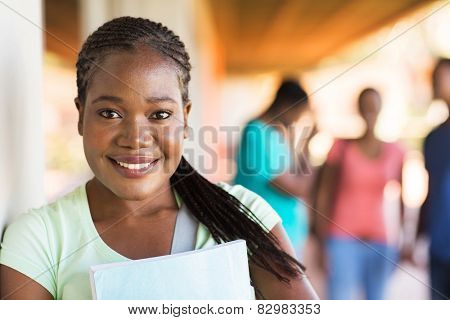 close up portrait of african university student on campus