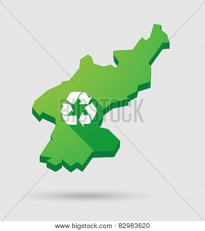 North Korea Map With A Recycle Sign