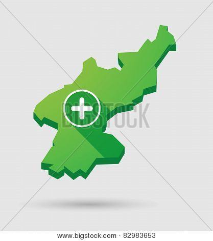 North Korea Map With A Plus Sign