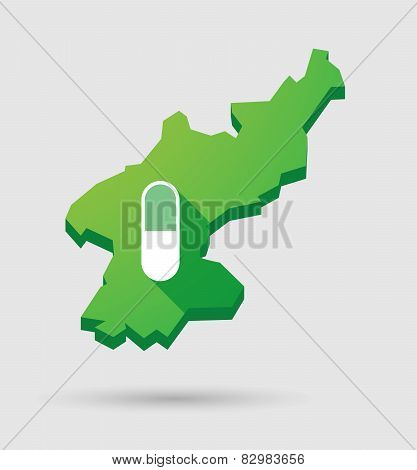 North Korea Map With A Pill