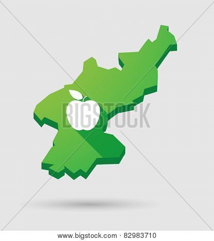 North Korea Map With A Fruit