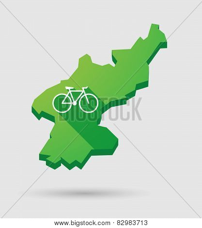 North Korea Map With A Bicycle