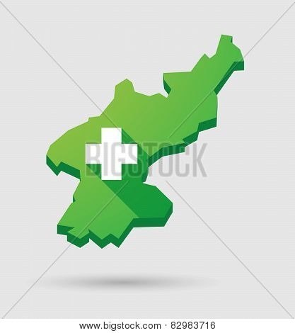 North Korea Map With A Pharmacy Sign