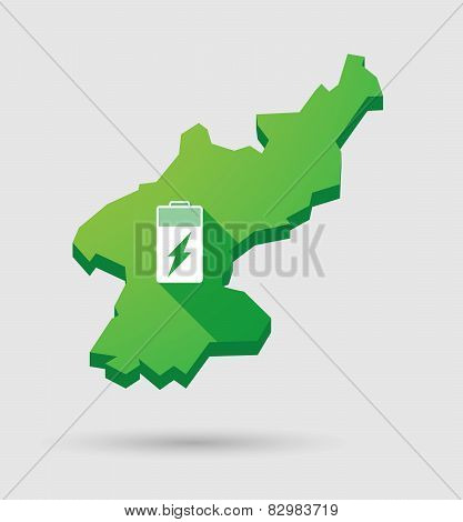 North Korea Map With A Battery