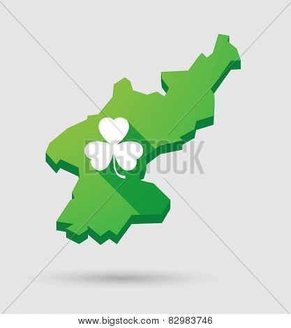 North Korea Map With A Clover