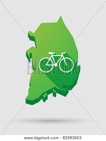 South Korea Map Icon With A Bicycle