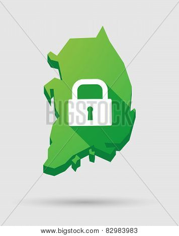 South Korea Map Icon With A Lock Pad