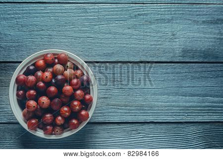Red Gooseberries In A Bowl