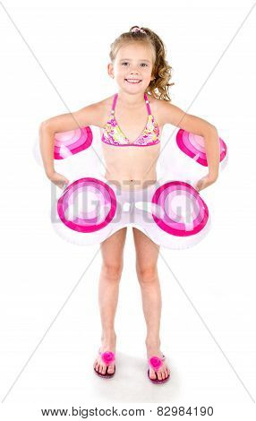 Cute Smiling Little Girl In Swimsuit With Inflatable Rubber Ring