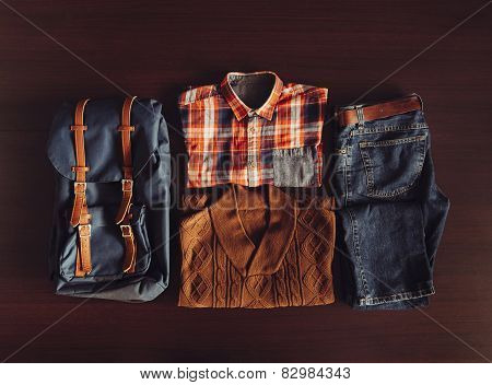 Set Of Male Clothing In Hipster Style