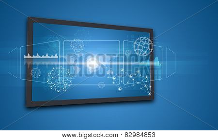 Touchscreen display with world map and other elements