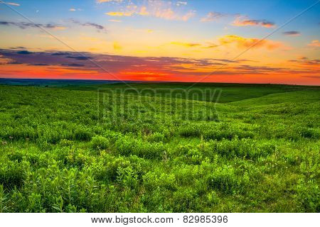 Sunset Over The Kansas Flint Hills