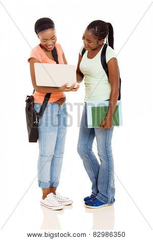 modern african american college students using laptop computer on white background