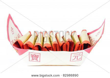 Silver Paper, Gold Paper, Joss Paper For Chinese Celebration With Chinese Bless Word
