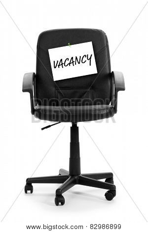 Black office chair with vacancy sign isolated on white