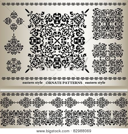 Set Of Ornate Patterns In Eastern Styl
