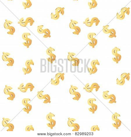 Universal vector seamless patterns tiling. Finance theme with gold dollar symbol.