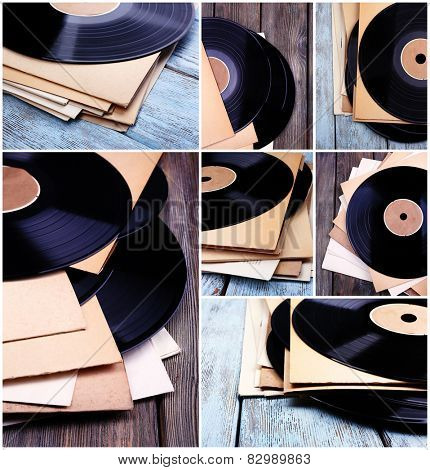 Vinyl records in collage