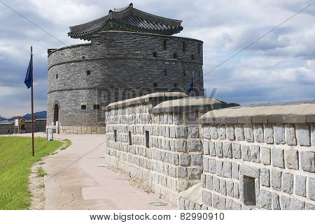 Tourist explores Hwaseong fortress  in Suwon, South Korea.