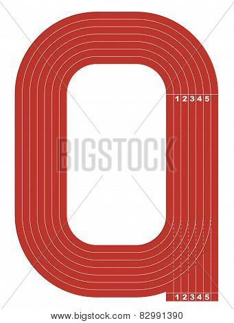 Sample athletics track field in a simple outline.