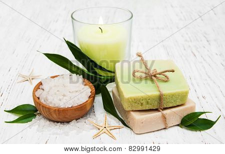 Spa Setting With Candle, Handmade Soap And Salt