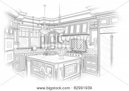 Beautiful Custom Kitchen Design Drawing in Black Isolated on White.