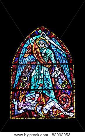 GRAZ, AUSTRIA - JANUARY 10, 2015: Stained glass window in Parish Church of the Holy Blood in Graz, Styria, Austria on January 10, 2015.