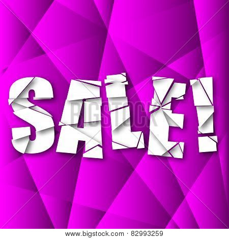 Sale Cut Paper Poster on purple Background
