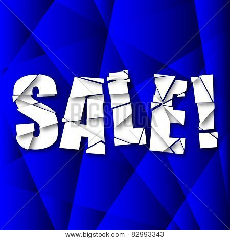 Sale Cut Paper Poster on Blue Background