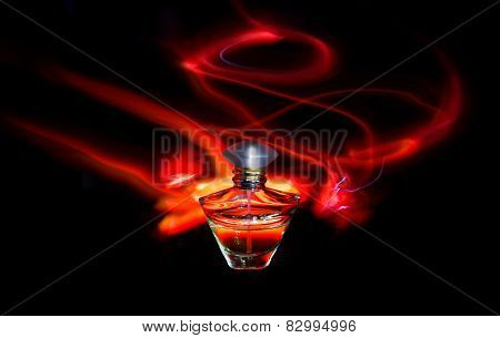 Perfume Bottle And Red Light Painting