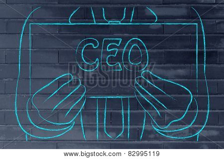 Business Man Holding Sign About Being Ceo (or Looking For Job As Ceo)