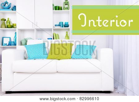 Modern interior design. White living room with sofa and bookcase. Interior concept