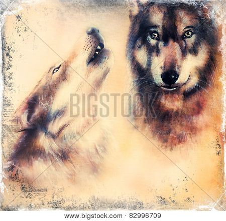 Wolfs Airbrush Painting On Canvas Color Background eye contact